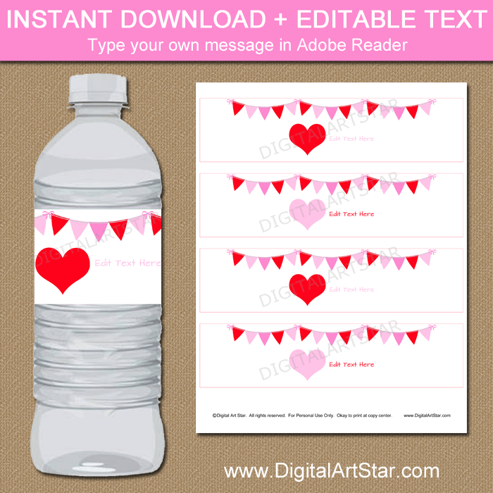 picture about Water Bottle Labels Printable referred to as Printable Valentine H2o Bottle Labels Template