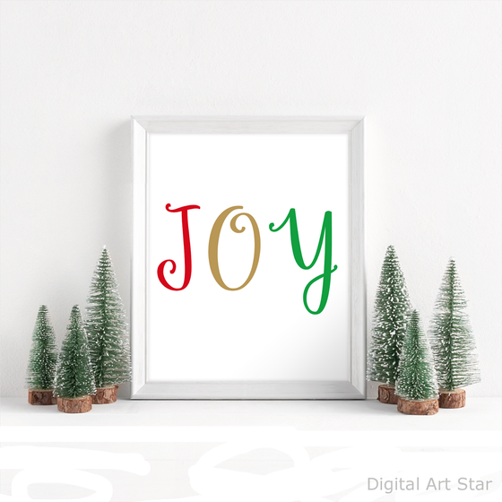 Joy Printable Wall Art for Christmas