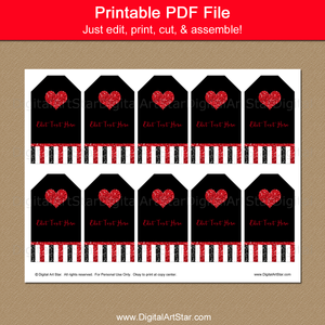 Printable Black and Red Wedding Thank You Tag Template