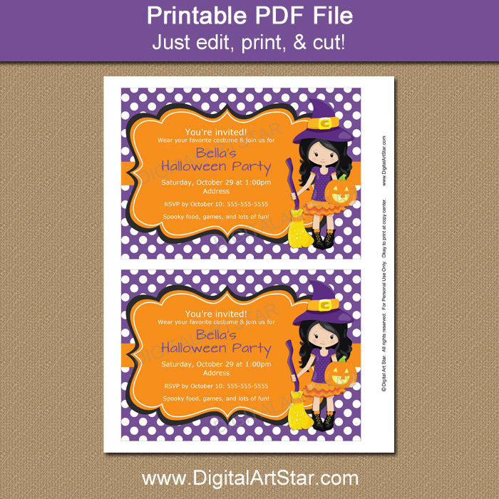 graphic relating to Halloween Invites Printable named Halloween Female Birthday Social gathering Invites with Witch