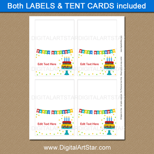 Birthday Party Food Labels Printable