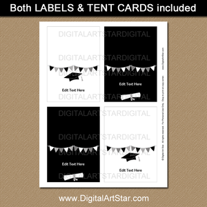 Printable Black and White Graduation Place Cards