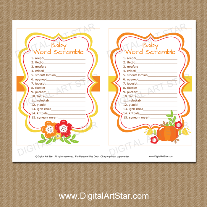Baby Word Scramble Game For Fall Baby Shower