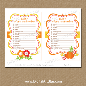 Baby Word Scramble Game Printable PDF