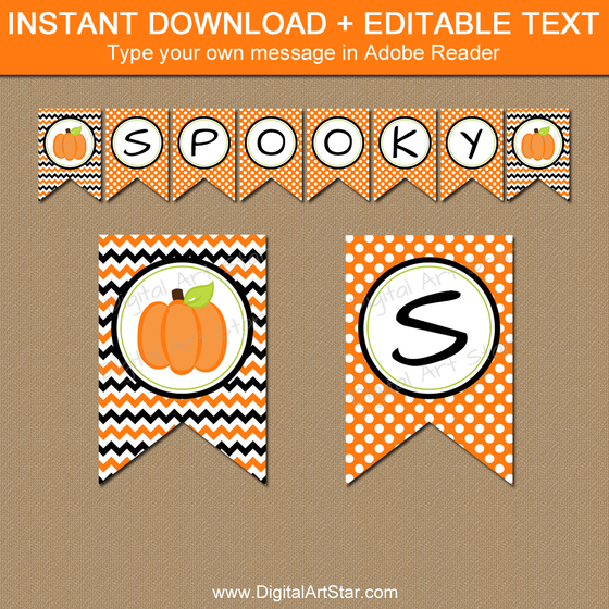Pumpkin Banner Instant Download