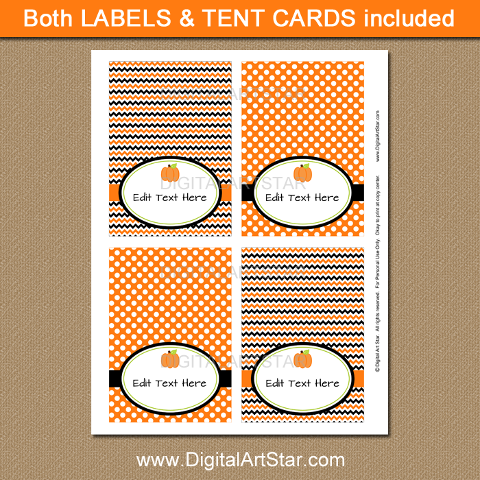 Halloween Pumpkin Place Cards Template