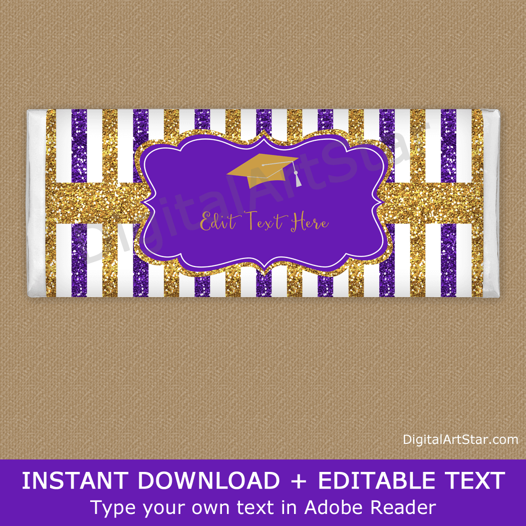Purple and Gold Glitter Candy Bar Wrappers Graduation
