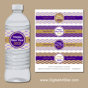 Purple Gold White Water Bottle Labels New Years 2021