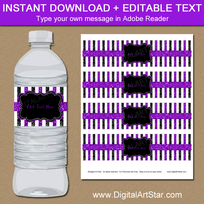 Purple and Black Glitter Water Bottle Labels