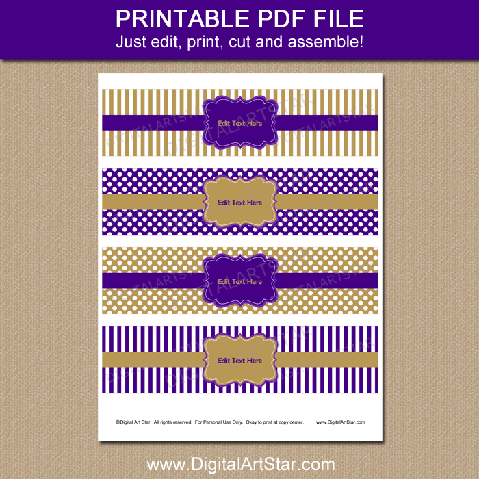 Printable Purple and Gold Water Bottle Labels