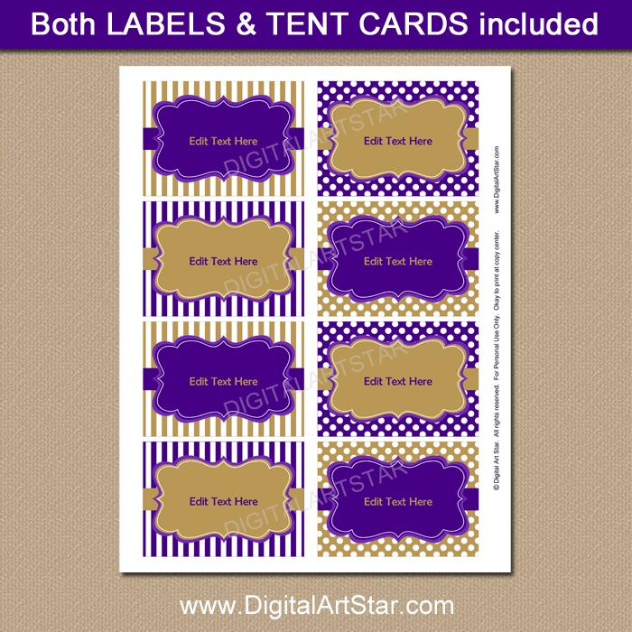 Fine Purple And Gold Candy Buffet Label Template Download Free Architecture Designs Scobabritishbridgeorg