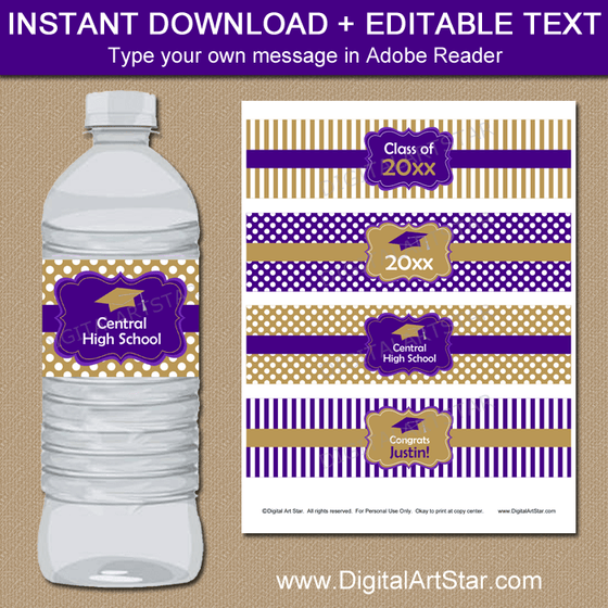 Purple and Gold Graduation Water Bottle Labels