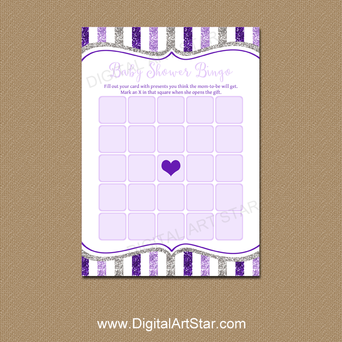 Purple and Silver Baby Shower Bingo Printable
