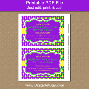 Purple Mardi Gras Birthday Invitations