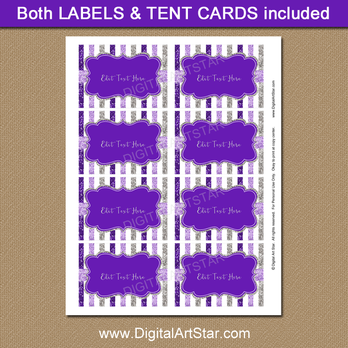 Purple and Silver Birthday Labels