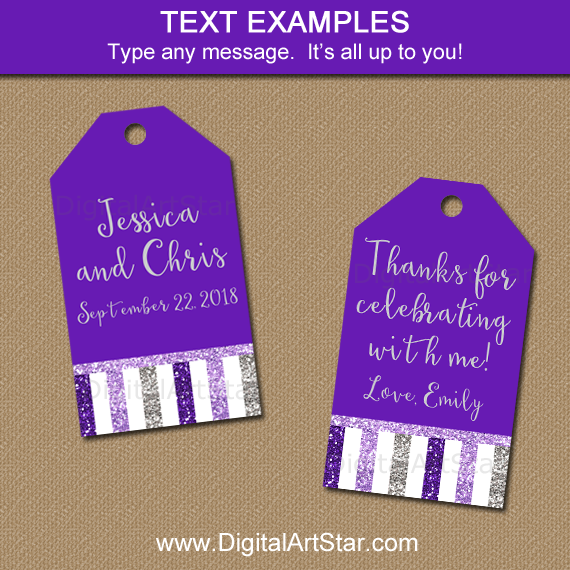 Glitter Purple and Silver Gift Tags