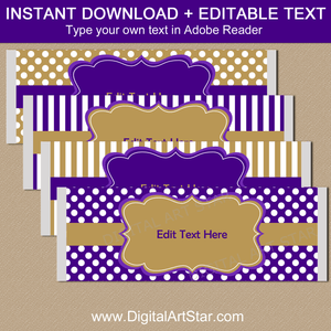 Instant Download Candy Bar Wrappers Purple Gold White