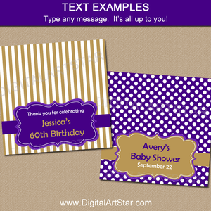 Purple and Gold Birthday Favor Bag Toppers