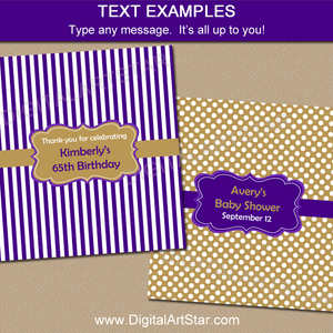 Purple and Gold Baby Shower Candy Bar Wrapper Template