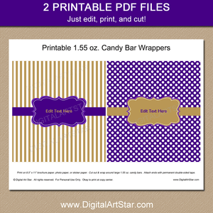 Purple and Gold Printable Candy Bar Wrappers