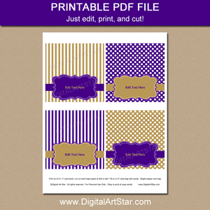 Printable Purple and Gold Treat Bag Toppers