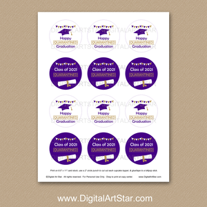 Quarantine Graduation Cupcake Toppers Printable Purple Gold White