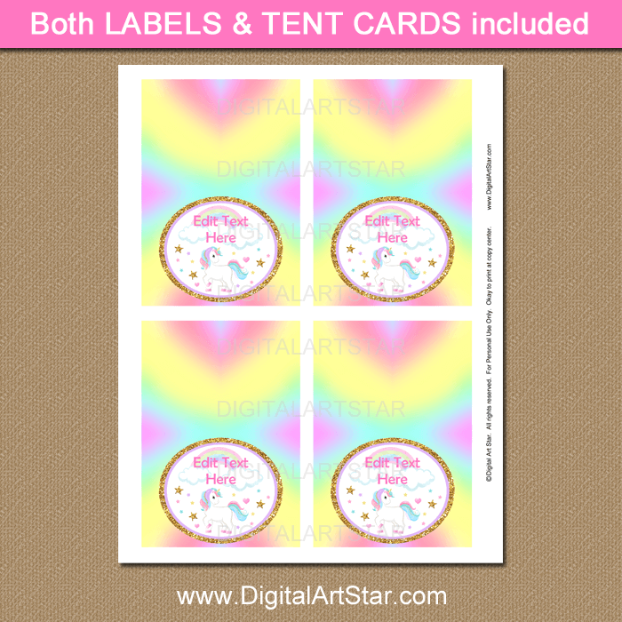Rainbow Unicorn Party Supplies Food Tent Cards
