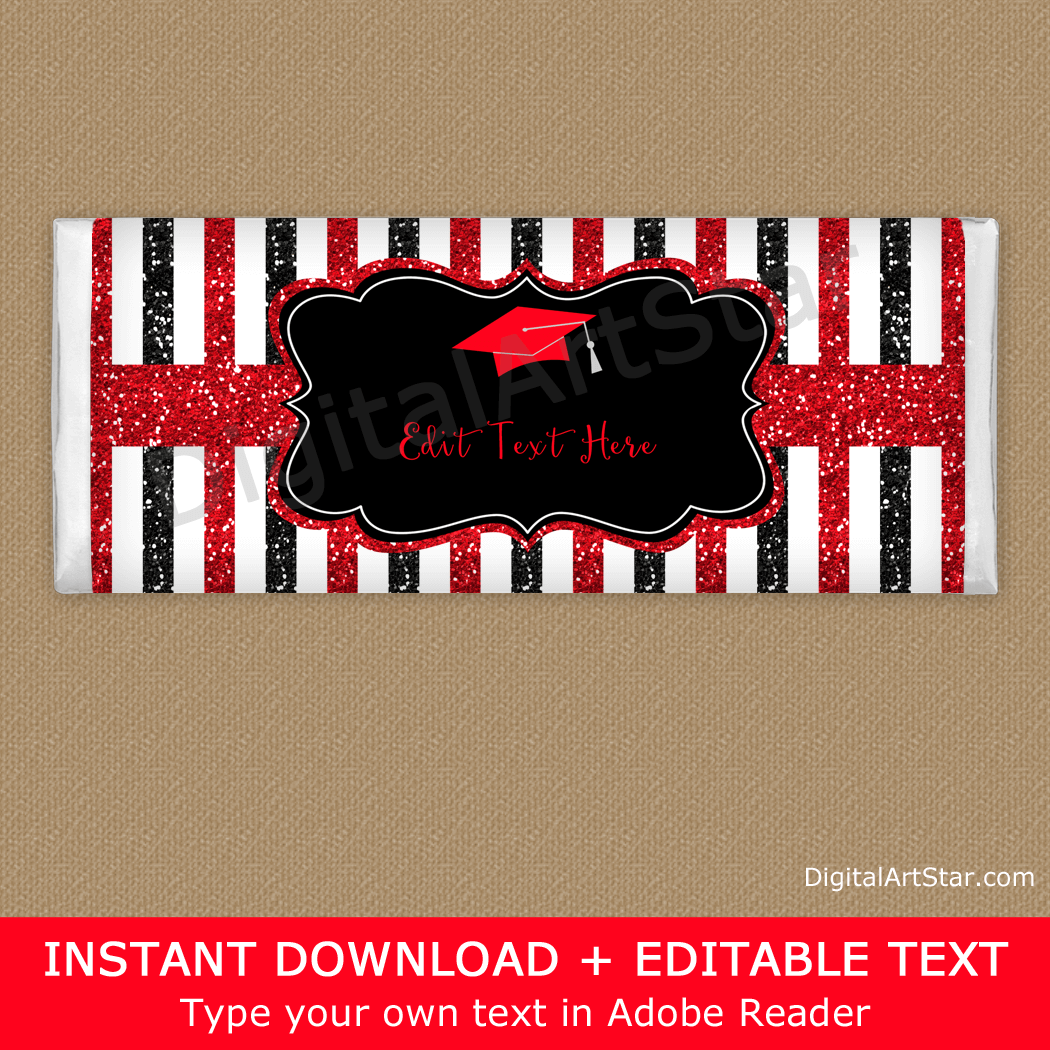 Red and Black Glitter Graduation Candy Bar Wrapper Printable
