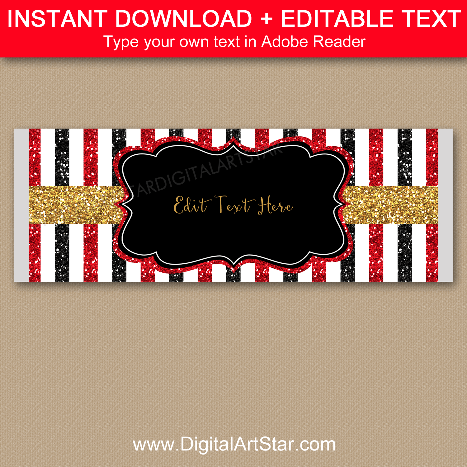 Red Black Gold Striped Candy Bar Wrapper Template Editable