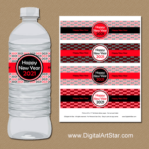 Red and Black Happy New Year Water Bottle Labels 2021