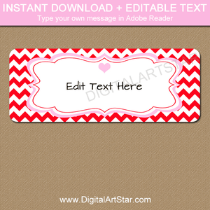 Red Chevron Valentines Day Return Address Labels Editable Template Print at Home