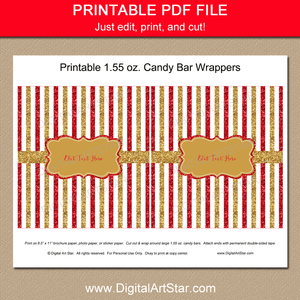 Red and Gold Birthday Candy Bar Wrappers Printable