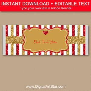 Red and Gold Wedding Candy Bar Wrapper Template