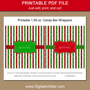 Red and Green Glitter Striped Christmas Candy Wrapper Printable PDF