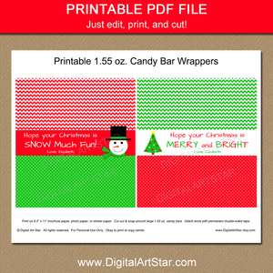 Red and Green Snowman Candy Bar Wrappers Printable Template