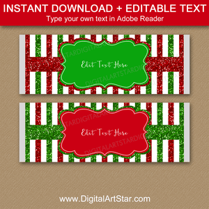 Red and Green Striped Candy Bar Wrappers Template Christmas