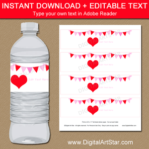 Red Heart Valentine Water Bottle Labels Editable Template