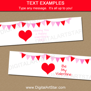 Red Heart Water Bottle Labels for Valentines Day Party Decorations