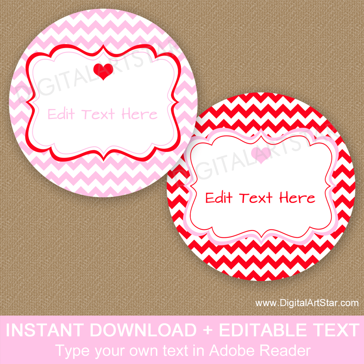 Red and Pink Chevron Favor Stickers for Valentines Day