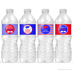 Red and Royal Blue Chevron Graduation Water Bottle Label Decorations