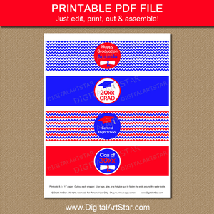 Red Royal Blue Graduation Water Bottle Labels Printable PDF