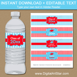 Red and Sky Blue Graduation Water Bottle Labels Editable Template