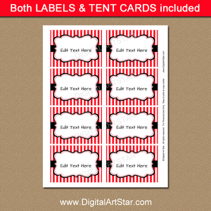 Printable Red and Black Labels