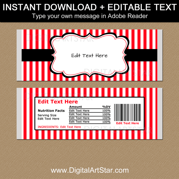 Printable Chocolate Wrapper Template - Red and White Stripes with Black Accents