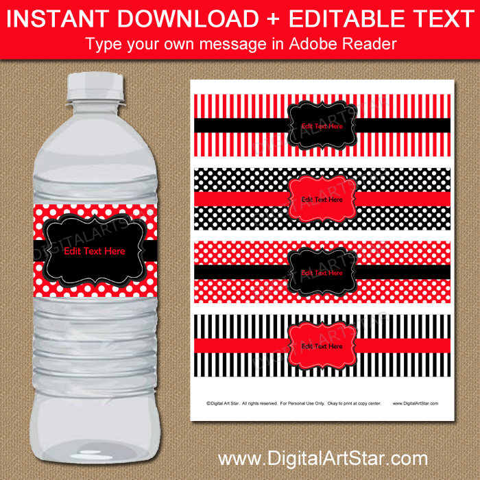 Red and Black Printable Water Bottle Labels