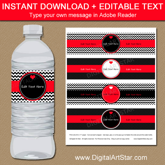 Red and Black Valentine Water Bottle Labels