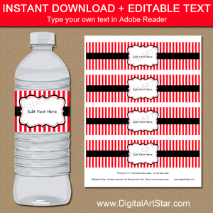 Water Bottle Label Template - Red and Black Printable Water Bottle Stickers