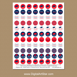 Red and Blue Graduation Candy Favor Stickers