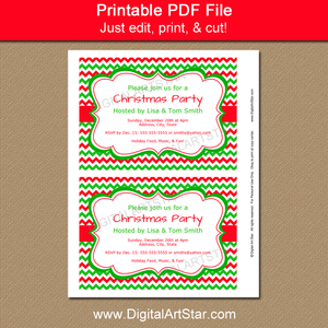 Printable Christmas Invites - Red and Green Chevron