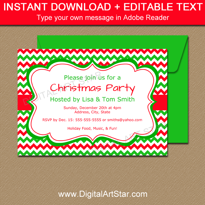 Red and Green Christmas Invitations